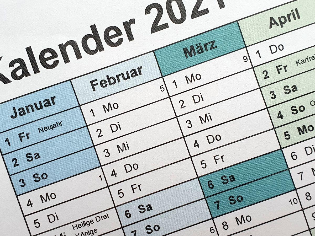 Kalenderausschnitt Jahresplaner