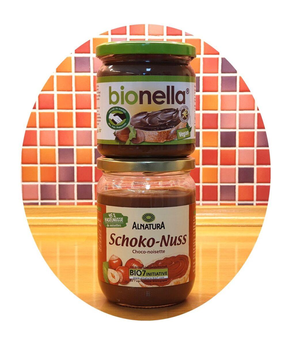 Nuss-Nougat-Cremes bionella und Alnatura Schoko-Nuss