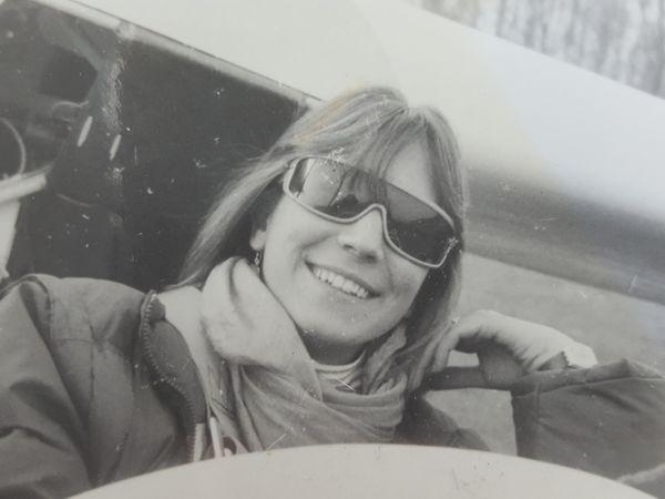 Ines Meyrose 1988 im Segelflugzeug