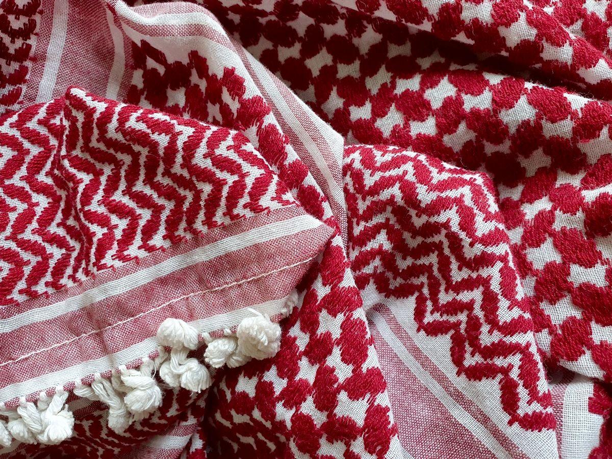 Kufiya in weiß-rot